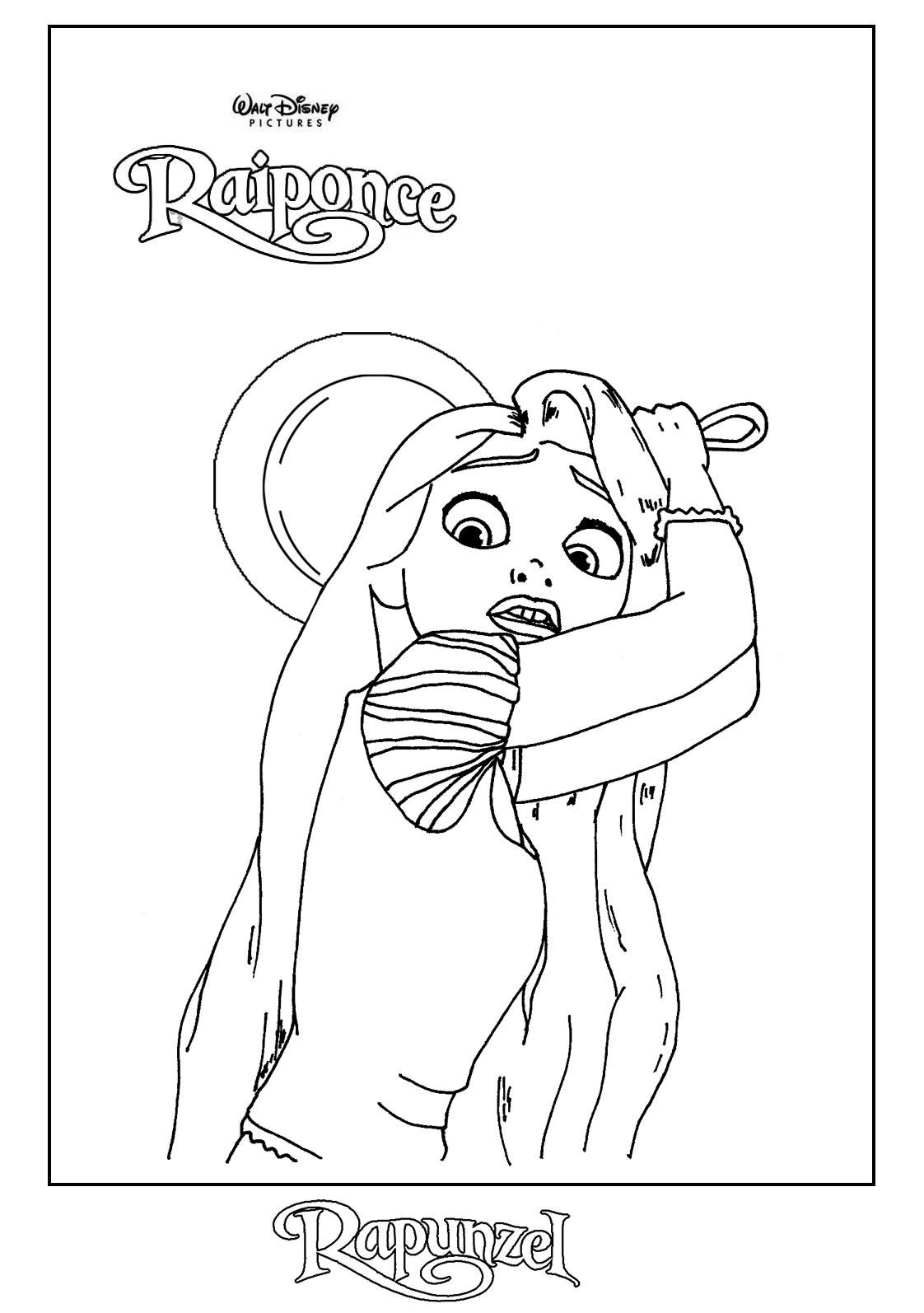 Coloriage Raiponce a peur dessin gratuit à imprimer
