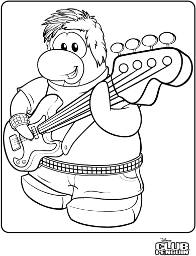 Coloriage club penguin guitariste dessin gratuit imprimer for Club penguin coloring page