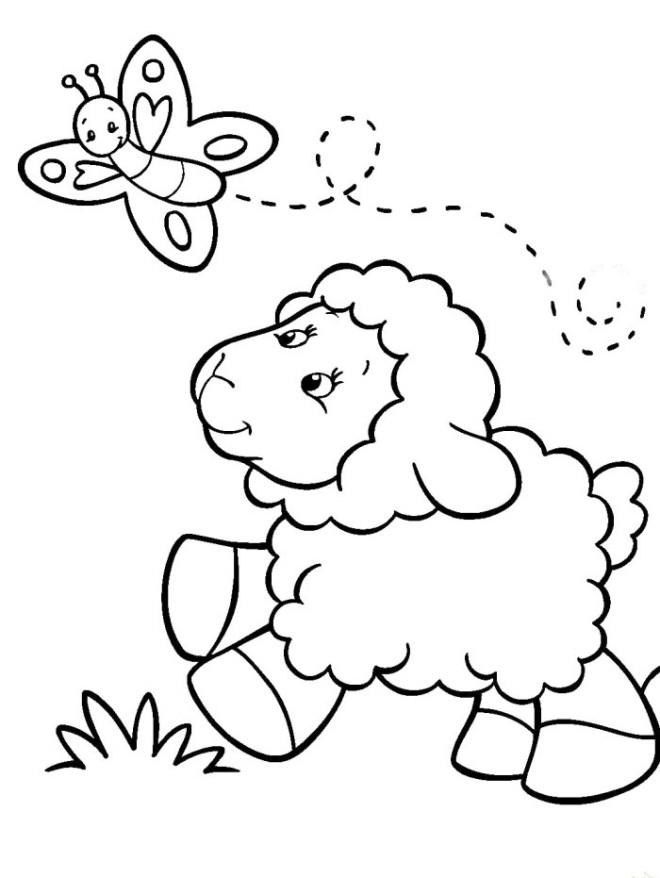 Coloriage et dessins gratuits Agneau et papillon à imprimer
