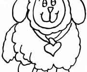 Coloriage et dessins gratuit Agneau portant une noeud en forme de coeur à imprimer