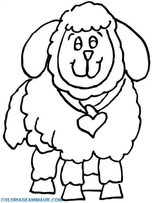 Coloriage et dessins gratuits Agneau portant une noeud en forme de coeur à imprimer
