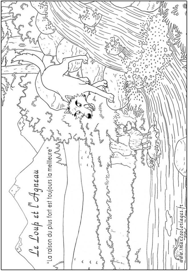 Coloriage Un Agneau Et Un Loup Dessin Gratuit A Imprimer