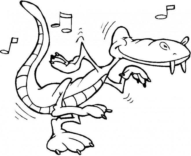 Coloriage et dessins gratuits Alligator écoute de la musique à imprimer
