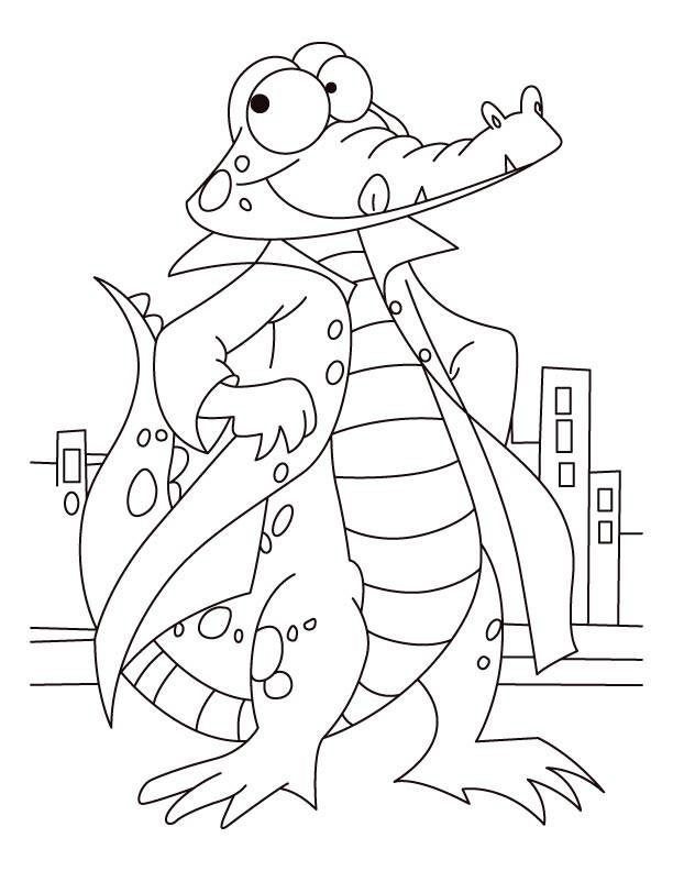 Coloriage et dessins gratuits Alligator élégant à imprimer