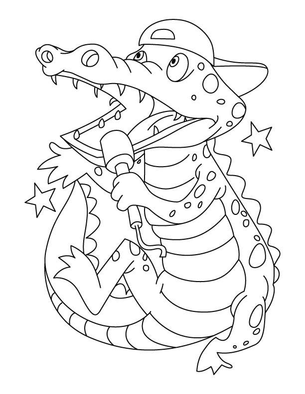 Coloriage et dessins gratuits Alligator en chantant à imprimer