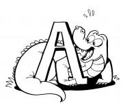Coloriage et dessins gratuit Alligator et la lettre A à imprimer