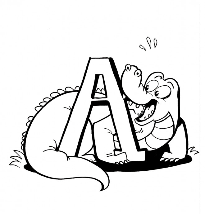 Coloriage et dessins gratuits Alligator et la lettre A à imprimer