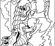 Coloriage et dessins gratuit Alligator et ses petits à imprimer