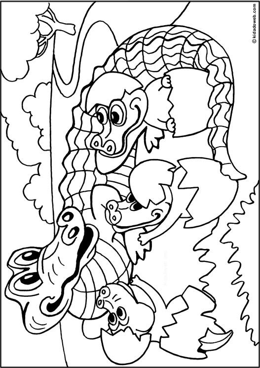 Coloriage et dessins gratuits Alligator et ses petits à imprimer