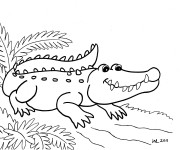 Coloriage Alligator facile