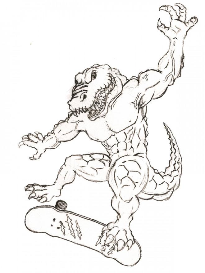 Coloriage et dessins gratuits Alligator musclé au crayon à imprimer