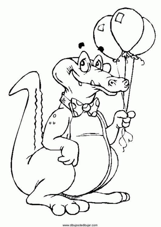 Coloriage et dessins gratuits Alligator portant des ballons à imprimer