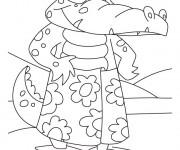 Coloriage Alligator portant ses vêtements