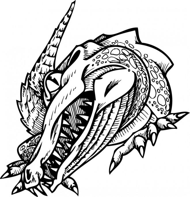 Coloriage et dessins gratuits Alligator qui fait peur à imprimer