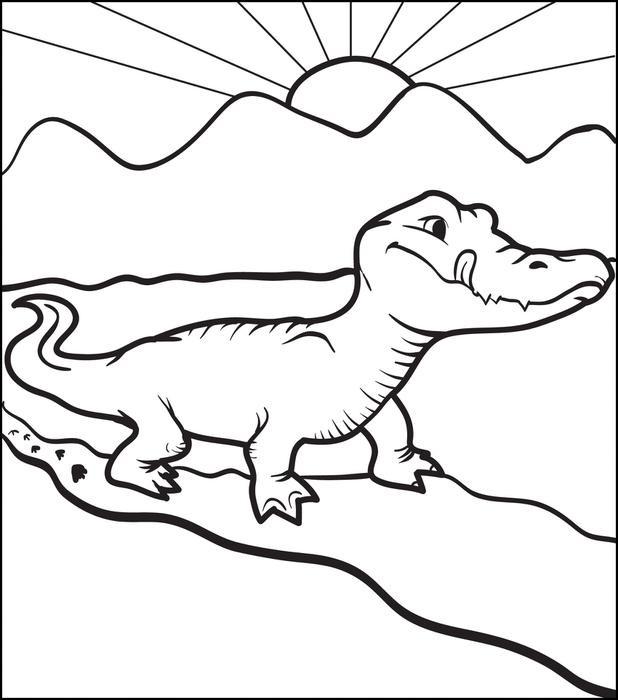 Coloriage et dessins gratuits Alligator se prépare pour manger à imprimer