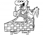 Coloriage Alligator sur la table de diner