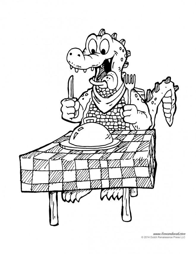 Coloriage et dessins gratuits Alligator sur la table de diner à imprimer