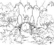 Coloriage Alligator sur un pont dessin animé