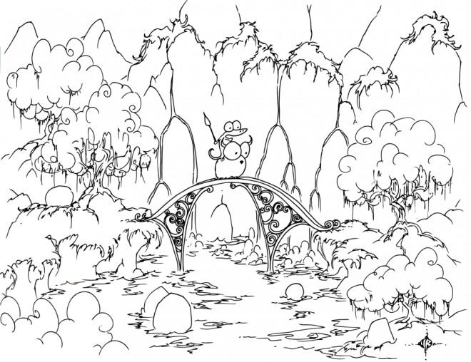 Coloriage et dessins gratuits Alligator sur un pont dessin animé à imprimer