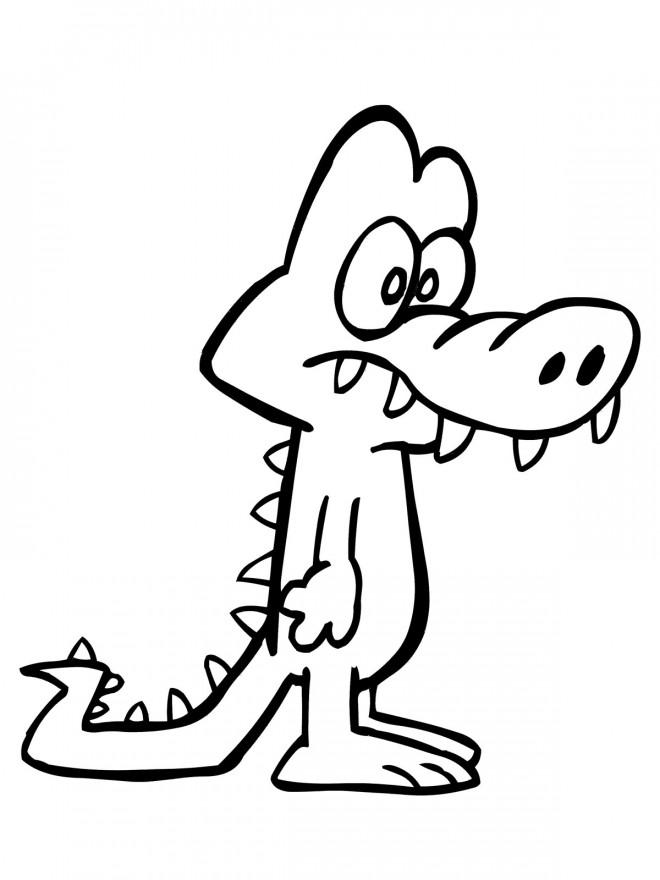 Coloriage et dessins gratuits Alligator surpris à imprimer