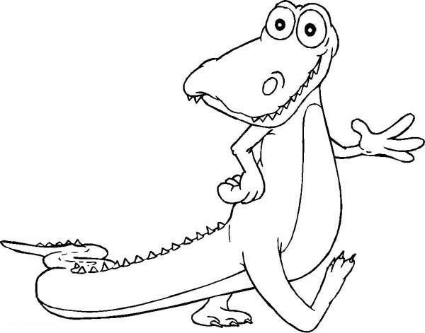 Coloriage et dessins gratuits Alligator sympathique qui marche à imprimer