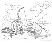 Coloriage Le malheureux Alligator pêcheur