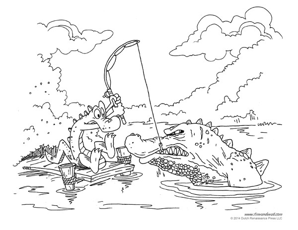 Coloriage et dessins gratuits Le malheureux Alligator pêcheur à imprimer