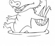 Coloriage Petit Crocodile s'amuse dans l'eau
