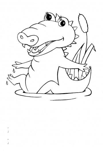 Coloriage et dessins gratuits Petit Crocodile s'amuse dans l'eau à imprimer
