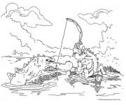 Coloriage Un Alligator pêcheur drôle