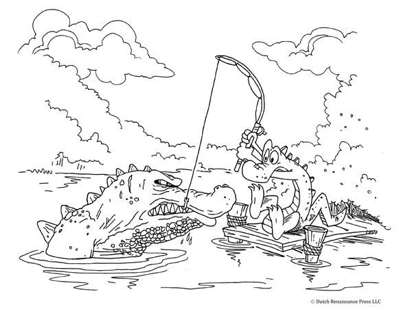 Coloriage Un Alligator p cheur dr le dessin gratuit imprimer