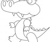 Coloriage Un petit Crocodile en marchant