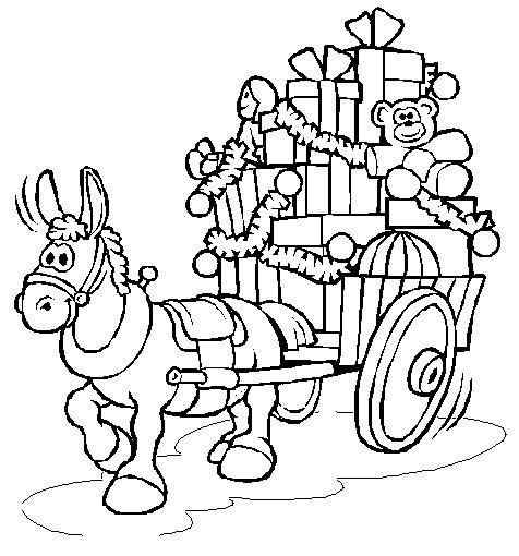 Coloriage et dessins gratuits Âne apporte les cadeaux de Noel à imprimer