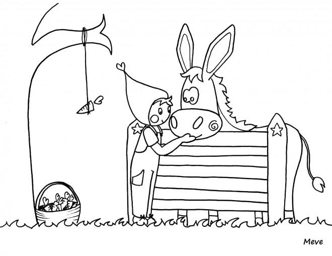 Coloriage et dessins gratuits Âne et petite fille à imprimer