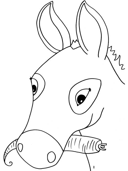 Coloriage et dessins gratuits Âne mange de carotte à imprimer