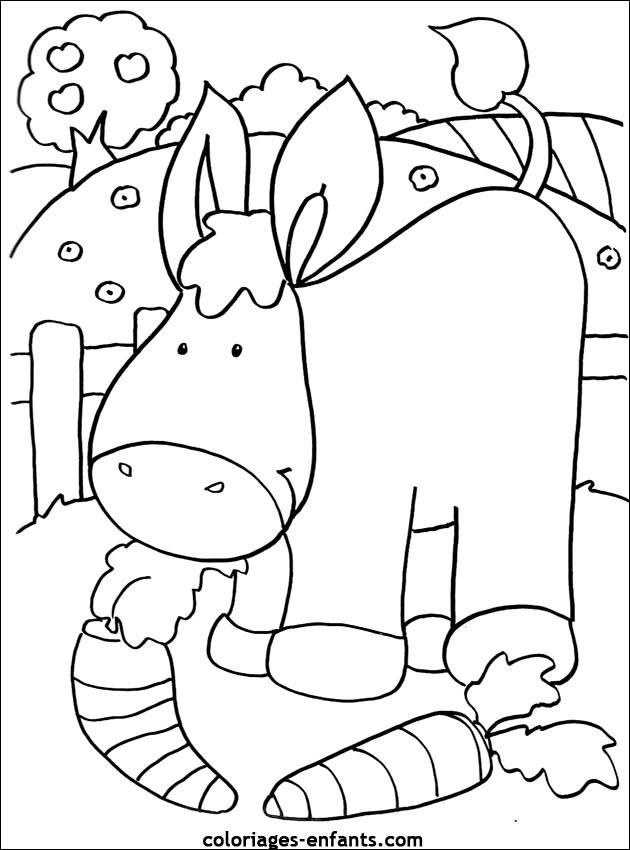 Coloriage et dessins gratuits Âne mange les carottes à imprimer