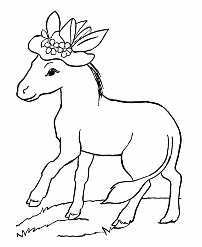 Coloriage et dessins gratuits Âne portant un chapeau à imprimer