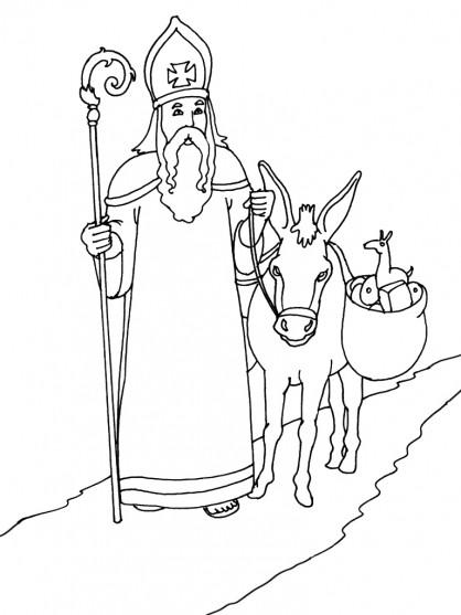 Coloriage L âne De Saint Nicolas Dessin Gratuit à Imprimer