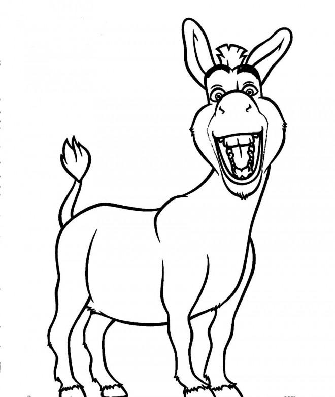 Coloriage et dessins gratuits L'Âne de Shrek en souriant à imprimer