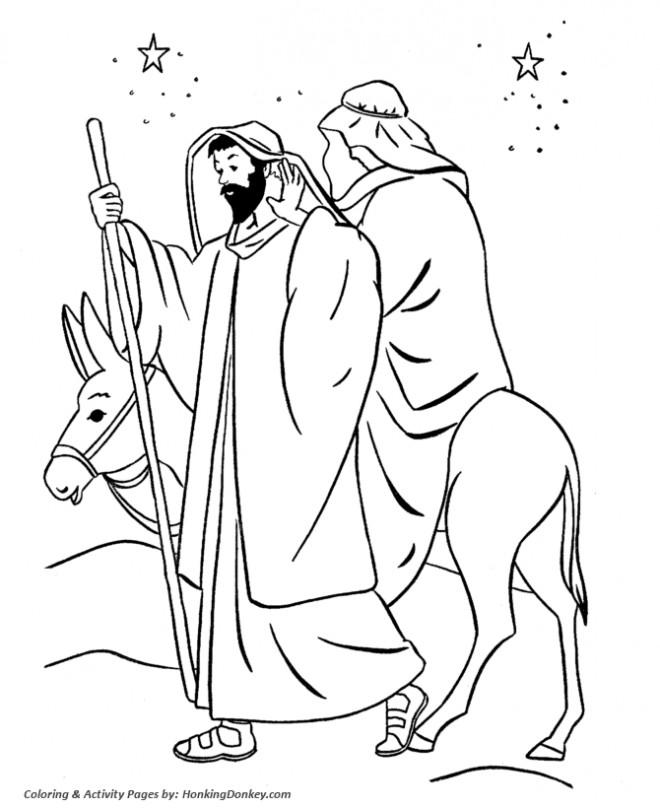 Coloriage et dessins gratuits L'âne monté par Marie à imprimer