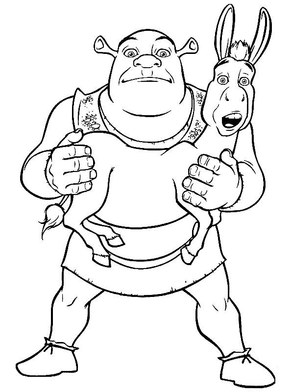 Coloriage et dessins gratuits Shrek porte son âne drôle à imprimer