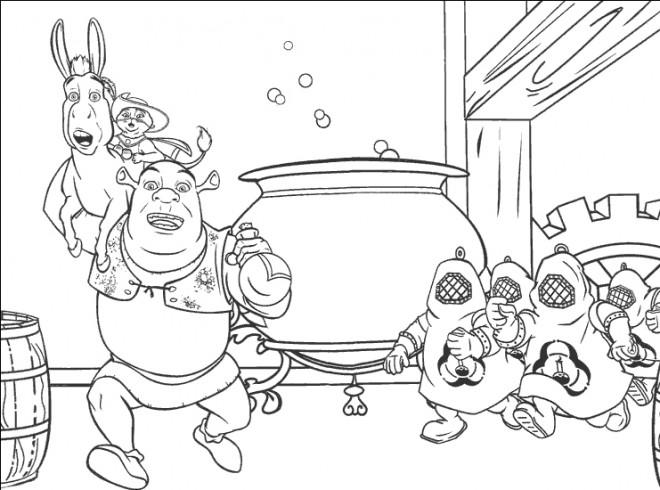 Coloriage et dessins gratuits Shrek s'enfuit avec l'âne à imprimer