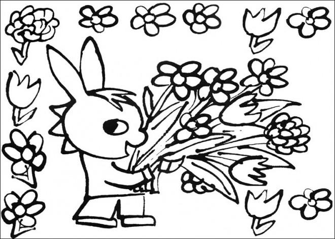 Coloriage et dessins gratuits Troto cueille des fleurs à imprimer