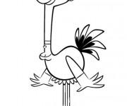 Coloriage Autruche dessin animé