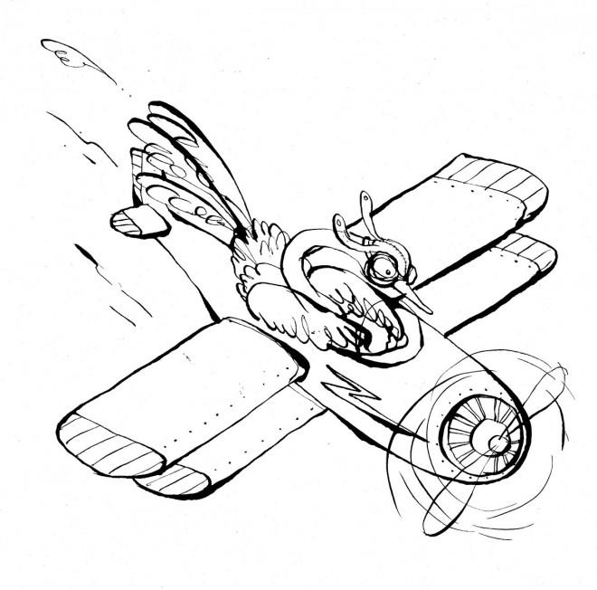Coloriage et dessins gratuits Autruche en avion à imprimer