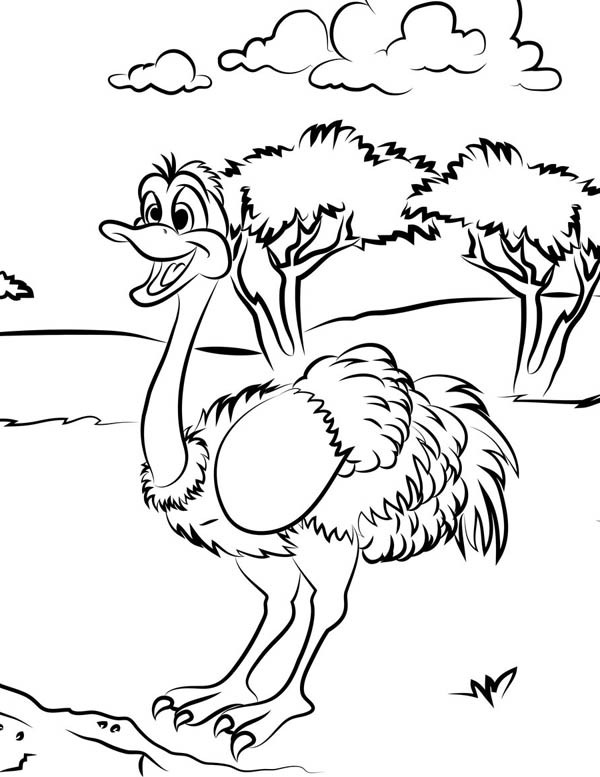Coloriage et dessins gratuits Autruche en plein air à imprimer