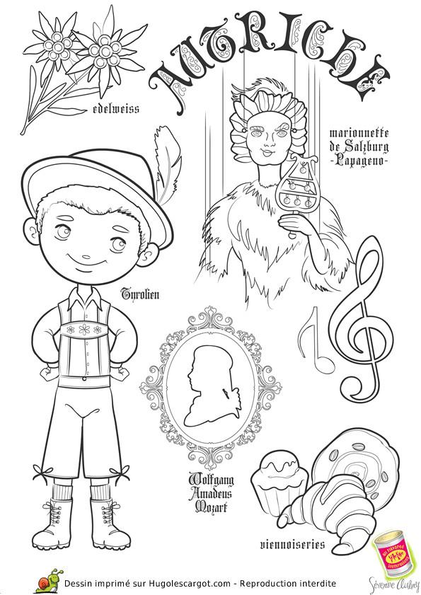 Coloriage et dessins gratuits Autruche et petit enfant à imprimer