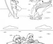 Coloriage Baleine et enfants