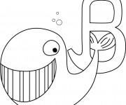Coloriage Baleine et la lettre B