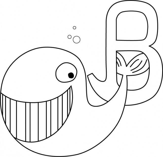 Coloriage et dessins gratuits Baleine et la lettre B à imprimer